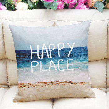 Home Decor Square Beach Letter Print Linen Pillow Case