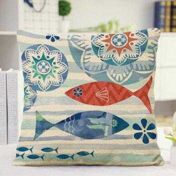 Cute Home Decor Floral Stripe Fish Pattern Pillow Case