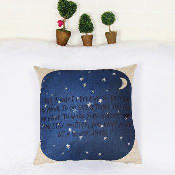 Chic Style Inspirational Moon and Star Square Design Pillow Case