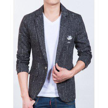 Sleeve Button Design Hat Beard Pattern Men's Blazer