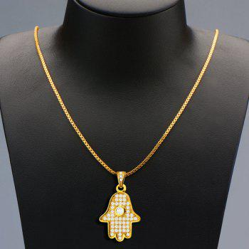 Delicate Rhinestoned Palm Necklace For Men