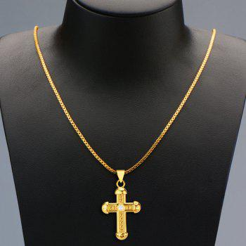 Delicate Rhinestone Crucifix Necklace For Men