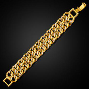 Chic Double Loop Rhinestone Bracelet For Men