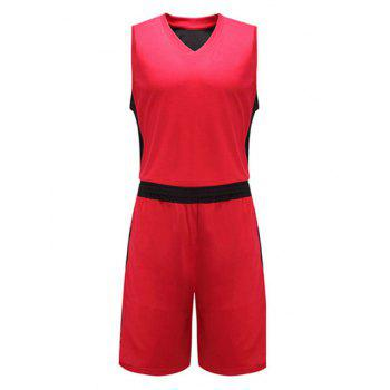 Color Block Spliced V-Neck Sleeveless Sport Suit ( Tank Top + Shorts )