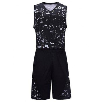 Splash-Ink Pattern V-Neck Sleeveless Sport Suit ( Tank Top + Shorts )