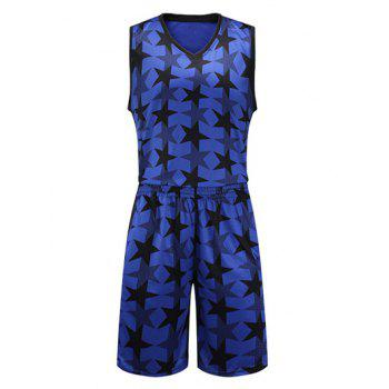 Stars Pattern V-Neck Sleeveless Sport Suit ( Tank Top + Shorts )