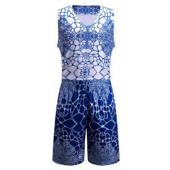 Irregular Geometric Print V-Neck Sleeveless Sport Suit ( Tank Top + Shorts )