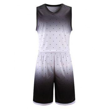 Ombre Polka Dot Print V-Neck Sleeveless Sport Suit ( Tank Top + Shorts )