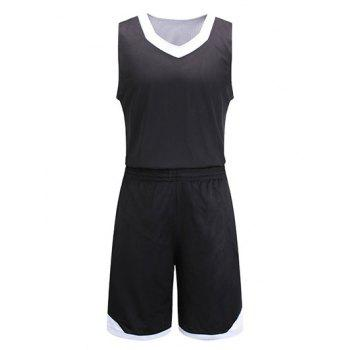 Reversible Style Color Block Splicing V-Neck Sleeveless Sport Suit ( Tank Top + Shorts )