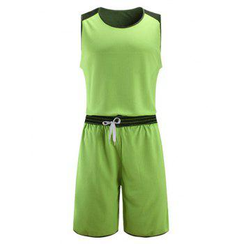 Reversible Style Color Block Splicing Star Print V-Neck Sleeveless Sport Suit ( Tank Top + Shorts )