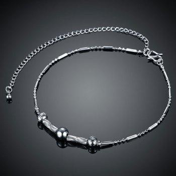 Simple Style Silver Plated Emboss Bead Chain Tassel Anklet For Women -  SILVER