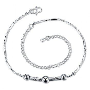 Simple Style Silver Plated Emboss Bead Chain Tassel Anklet For Women