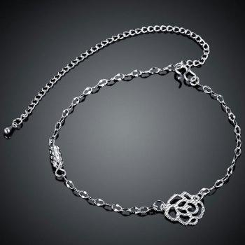 Hollow Out Rose Silver Plated Anklet -  SILVER