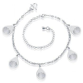 Cut Out Filigree Teardrop Charm Anklet