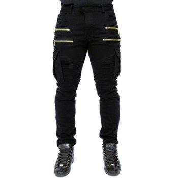 Rib Design Zipper Embellished Pocket Zipper Fly Narrow Feet Men's Pants