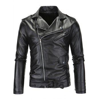 Zip-Up Fashionable Turn-Down Collar Long Sleeve Men's PU-Leather Jacket