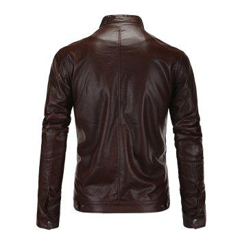 Zip-Up Fashionable Stand Collar Long Sleeve Men's PU-Leather Jacket - BROWN 5XL