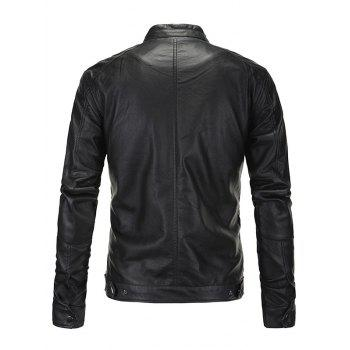 Zip-Up Fashionable Stand Collar Long Sleeve Men's PU-Leather Jacket - BLACK 4XL