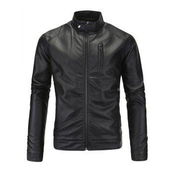 Zip-Up Fashionable Stand Collar Long Sleeve Men's PU-Leather Jacket