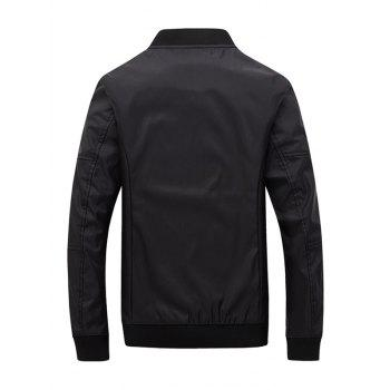 PU Leather Zipper Pocket Design Bomber Jacket - BLACK XL