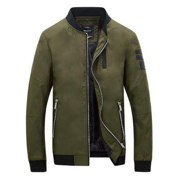 PU Leather Zipper Pocket Design Bomber Jacket