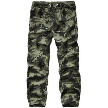 Lace-Up Camouflage Plus Size Straight Leg Men's Pants