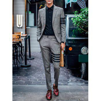 Stripe Embellished Lapel Single Breasted Men's Suit ( Blazer + Pants )