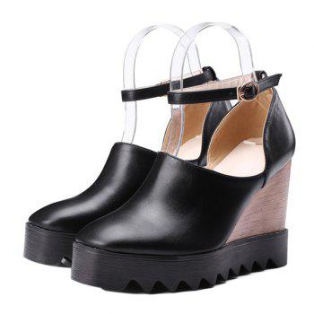 Chic Square Toe and Ankle Strap Design Women's Wedge Shoes - 37 37