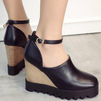 Chic Square Toe and Ankle Strap Design Women's Wedge Shoes - BLACK 37