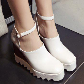 Chic Square Toe and Ankle Strap Design Women's Wedge Shoes - 39 39