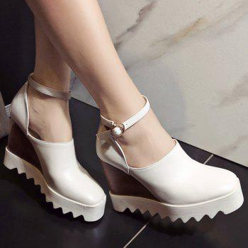 Chic Square Toe and Ankle Strap Design Women's Wedge Shoes - WHITE 39