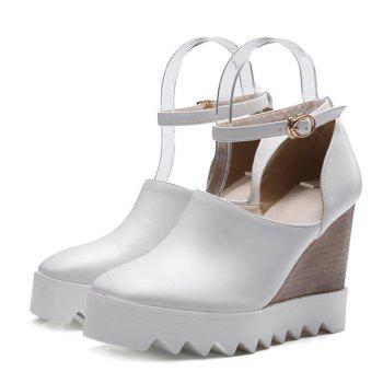 Chic Square Toe and Ankle Strap Design Women's Wedge Shoes - WHITE WHITE