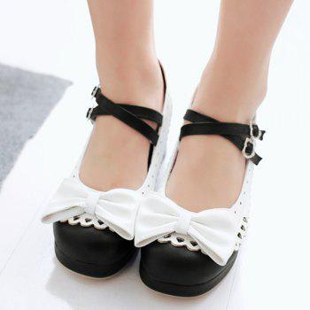 Trendy Color Splicing and Bowknot Design Women's Pumps - BLACK 37