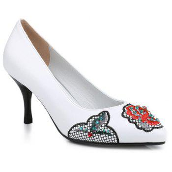 Ethnic Embroidery and Rhinestone Design Women's Pumps