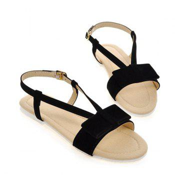 Simple Style Bow and Flat Heel Design Women's Sandals - BLACK 39
