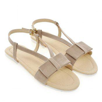 Simple Style Bow and Flat Heel Design Women's Sandals - APRICOT 39