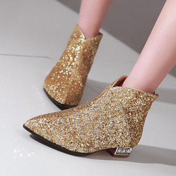 Stylish Pointed Toe and Sequined Design Women's Ankle Boots - GOLDEN 39