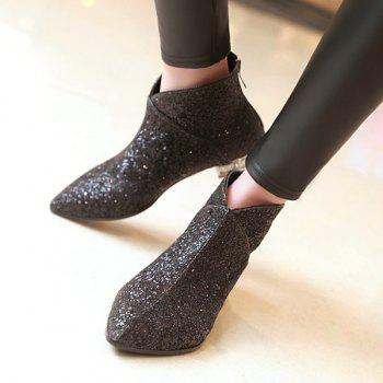 Stylish Pointed Toe and Sequined Design Women's Ankle Boots - BLACK 38