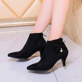 Sweet Suede and Bow Design Women's Ankle Boots - BLACK 37
