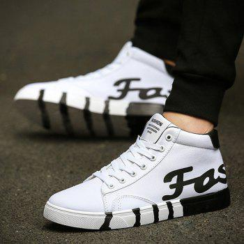 Trendy Tie Up and Color Splicing Design Men's Canvas Shoes - WHITE 43