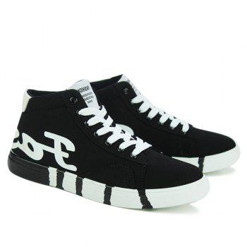 Trendy Tie Up and Color Splicing Design Men's Canvas Shoes - BLACK 43