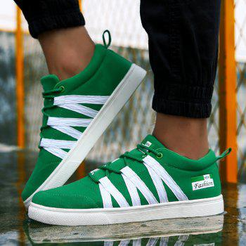 Trendy Color Splicing and Tie Up Design Men's Casual Shoes - GREEN 42