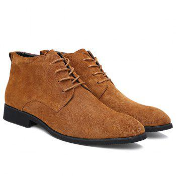 Fashionable Suede and Tie Up Design Men's Casual Shoes - BROWN 42