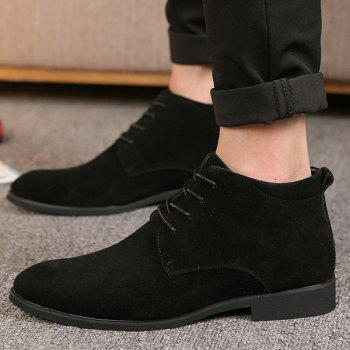 Fashionable Suede and Tie Up Design Men's Casual Shoes - BLACK 40