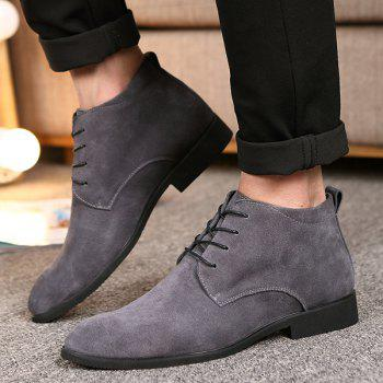 Fashionable Suede and Tie Up Design Men's Casual Shoes - GRAY 41