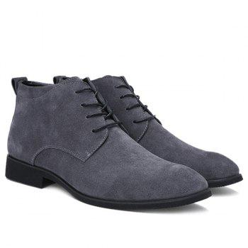 Fashionable Suede and Tie Up Design Men's Casual Shoes - GRAY 42