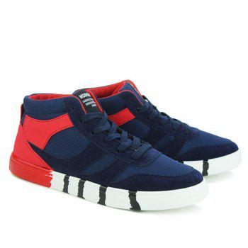 Stylish Tie Up and Splicing Design Men's Casual Shoes - BLUE/RED 41