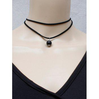 Double Layered Bead Necklace - BLACK