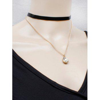 Buy Water Drop Faux Crystal Necklace BLACK/GOLDEN