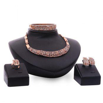 A Suit of Vintage Rhinestone Fret Necklace Bracelet Ring and Earrings For Women